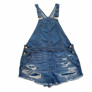 American Eagle Overall Shorts Distressed